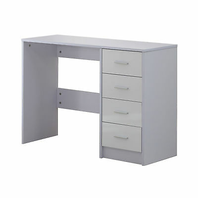 HOMCOM Computer Desk 4 Drawers Home Office Workstation High Gloss White