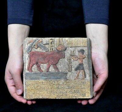 ANCIENT ANTIQUE Egyptian plaque  Hathor as a cow  Stela Relief  (1500-1100 BC)