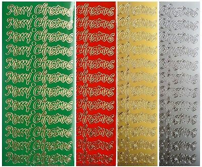 MERRY CHRISTMAS Peel Off Stickers Gold Silver Red Green Card Making Winter