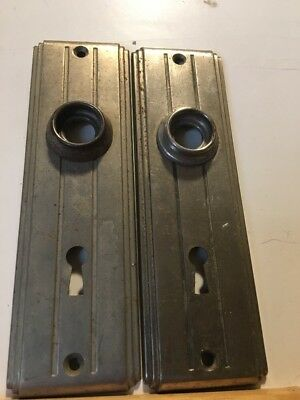 VINTAGE ART DECO DOOR PLATES Set Skeleton Key Stamped