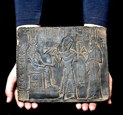 ANCIENT ANTIQUE Egyptian plaque Ramses Offering Lotus to Isis Stela Relief