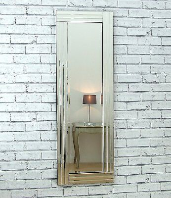 """Grace Silver Glass Framed Full Length Bevelled Wall Mirror 48"""" x 16"""" Large"""