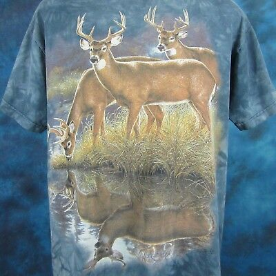 vintage 90s THE MOUNTAIN DEER NATURE T-Shirt LARGE wild animal hunting soft thin
