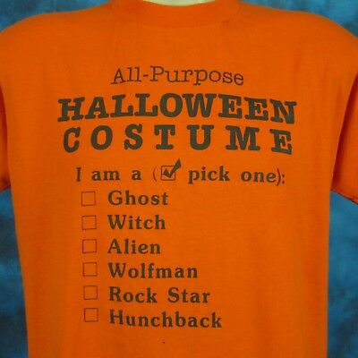 vintage 80s ALL-PURPOSE HALLOWEEN COSTUME PAPER THIN T-Shirt M/L ghost witch
