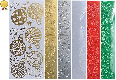 CHRISTMAS BAUBLES Peel Off Stickers Gold Silver Red Green White Card Making