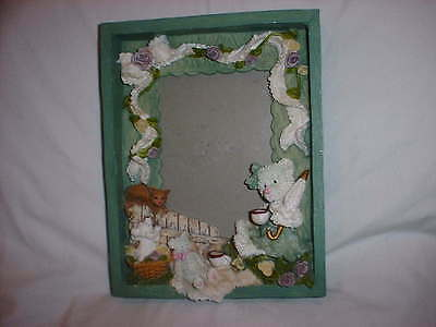 """PICTURE FRAME 3D Teddy Bear Cat Dog Purple Flowers 8"""" X 6"""" Heavy Resin NWT"""