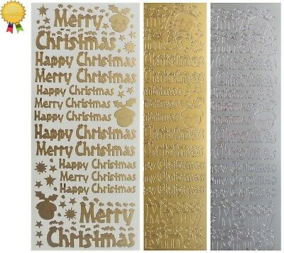 MERRY / HAPPY CHRISTMAS Peel Off Stickers Pudding Card Making Gold or Silver