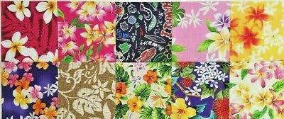 """30Pcs Precut 5"""" Charm Pack 100% Cotton Fabric Hawaiian Flowers For Quilting"""