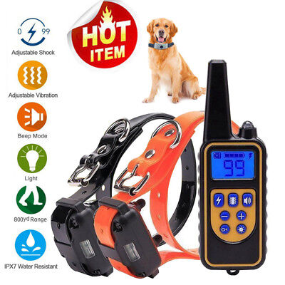 Dog Shock Training Collar Waterproof Rechargeable Remote 800Yard Electric LCD US