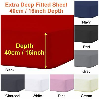 """Plain Extra Deep Fitted Sheets 40cm 16"""" Single 4ft Small Double Super King Sizes"""