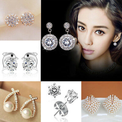 Fashion Elegant Gold Silver Circle Crystal Pearl Stud Charm Earrings Jewelry HOT