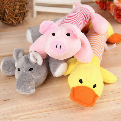 Pet Chew Squeaker Squeaky Plush Sound Pig Elephant Duck Ball For Dog Toy s
