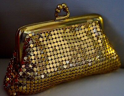 Original Vintage WHITING & DAVIS Gold Metal Mesh Coin Purse