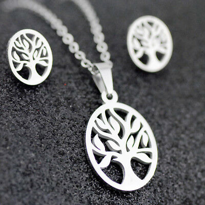 Cool Stainless steel tree earring necklace Set Charm Jewelry