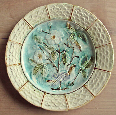 Antique Majolica Plate With Birds And Flowers - Nimy Pottery - Circa 1900