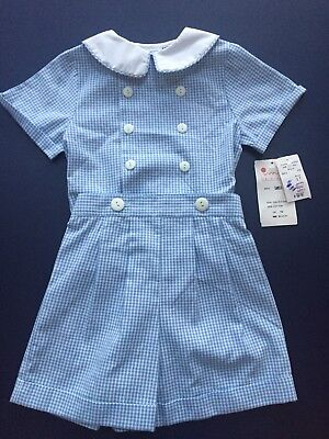 NEW NWT Vintage Pageboy Boys Checked Short Suit Set Sz 2 T Imp Orig Blue Preppy