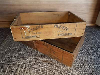 2 x Vintage Timber Smoked Cod Crates Boxes