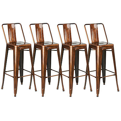 Copper Metal Breakfast Bar Cafe Stool Industrial/retro Seat Chair High Back Rest