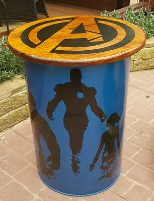 Table recycled drum table painted with timber top for bar mancave or ent. Area