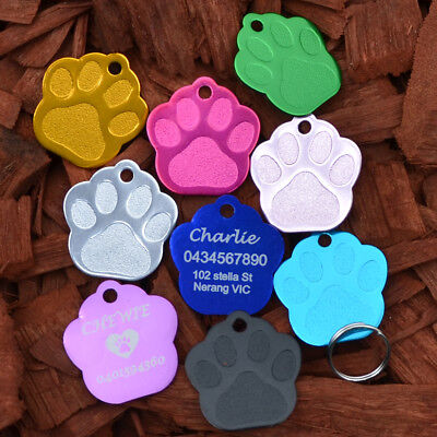 Pet Dog cat Puppy Personalised ID colla Name Tag Engraved Etched Aluminium paw