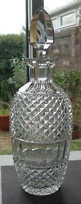 NICE QUALITY DIAMOND & PANEL CUT CRYSTAL GLASS DECANTER + ORIGINAL No 32 STOPPER