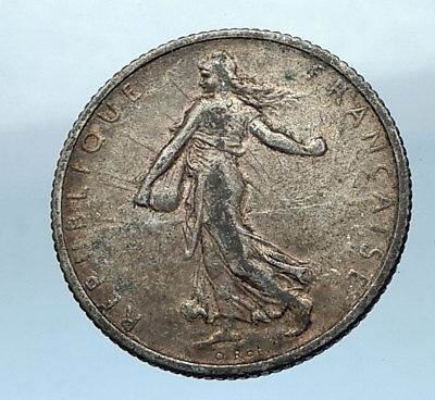 1915 FRANCE Antique Silver 1 Franc French Coin w La Semeuse Sower Woman i68219