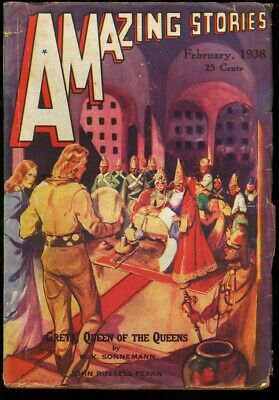 Amazing Stories 1938 Feb-Early Science Fiction Pulp Vg/fn