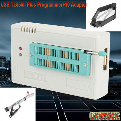USB Programmer for TL866II Plus EEPROM FLASH 8051 AVR MCU GAL PIC with10 Adapter