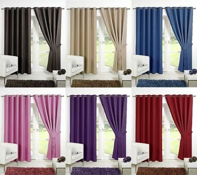 FULLY LINED THERMAL BLACKOUT CURTAINS Eyelet / Ring Top with FREE Tie Backs