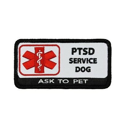 PTSD Service Dog Badge Patch Ask To Pet Medical Embroidered Iron On Applique