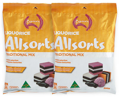2 x Capricorn Liquorice Allsorts Traditional Mix 200g