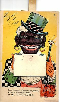 Rare+++ Fantastic Mechanical Comic Racist P/c. France 1908.