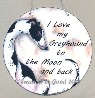 Greyhound dog art painting laminated sign from original Suzanne Le Good