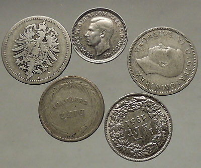 GROUP LOT of 5 Old SILVER Europe or Other WORLD Coins for your COLLECTION i53823