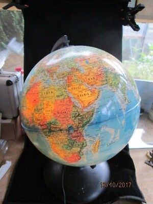 """Aprox 10"""" Light Up World Globe By Tecnodidattica - Italy  - Working Good Used"""