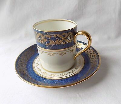 Vintage Crown Staffordshire Coffee Can & Saucer. Blue & White. Gilded Floral.