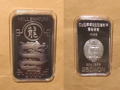 1998 KOREA Millennium Dragon $250 WON Proof silver coin