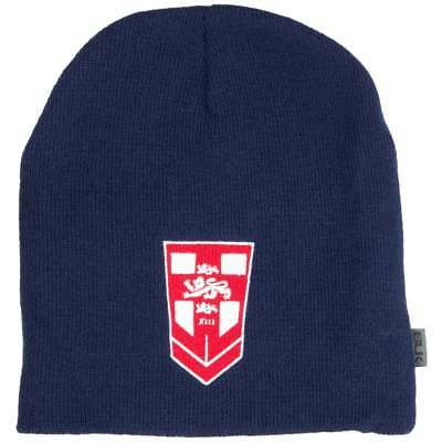 Official BLK England Rugby League Beanie in Navy with Embroidered Logos OSFM