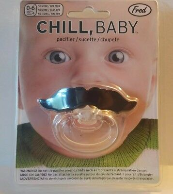 Chill Baby Mustache Pacifier Funny Novelty Silly Gag Gift Soothe Binky Fred joke