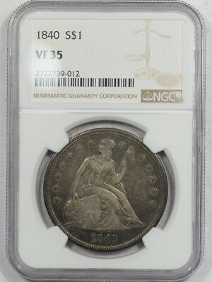 1840 Seated Liberty Dollar Ngc Vf-35