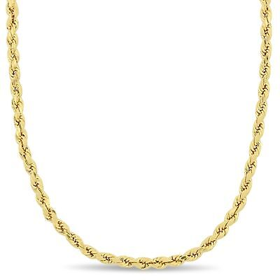Amour 10k Yellow Gold Unisex Rope Chain Necklace (3-5mm & 16-24 inch)