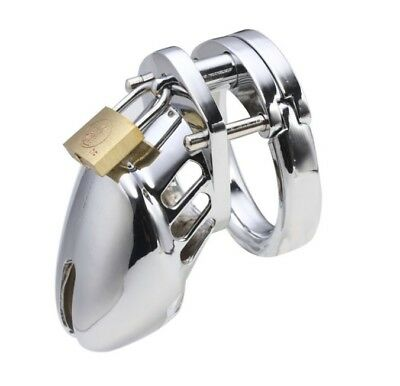 Male Chastity New Holder Cage Device Chrome Plated Steel Metal CBT Slave Gay