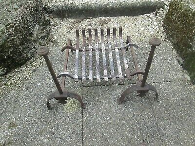 French Antique Fire Irons And Basket. Andiron
