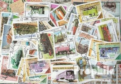 Motives 100 different stamps  Railway in complete Expenditure