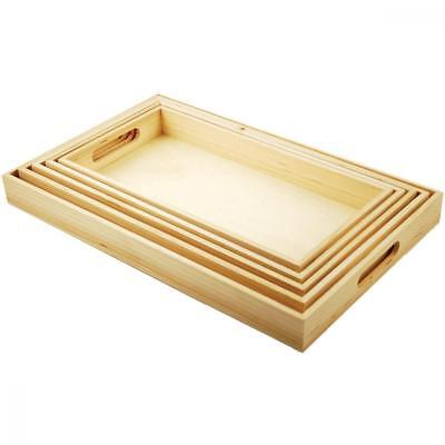 Multicraft Imports WS410 5-Piece Paintable Wooden Trays with Handles, 6-5/8...
