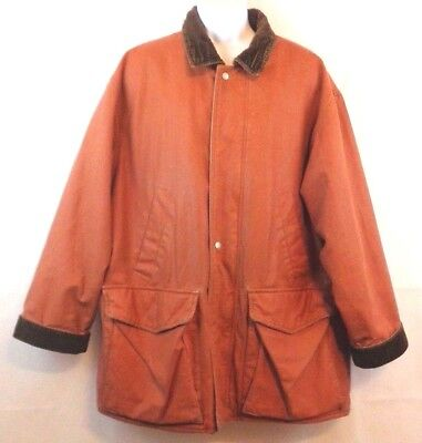 Original Structure Blue Workwear Men's Heavy Coat Jacket Rust Brown Lined Large