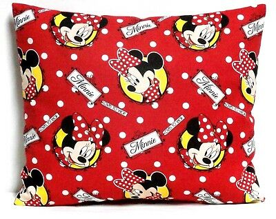 Minnie Mouse Toddler Pillow on Red Cotton M19-4 New Handmade