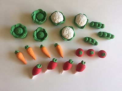 20 edible VEGETABLE PETER RABBIT cup cake topper decoration PEAS lettuce RADISH