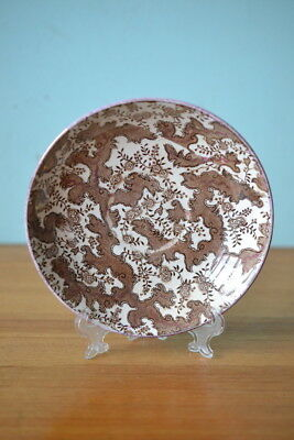 Vintage fine china saucer / plate brown and white