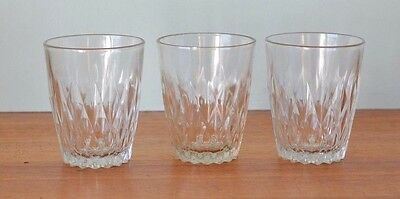 Vintage 3 x cut  glass drinking